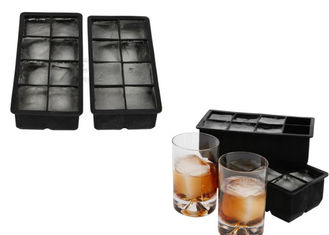 China Personalized 2 Inch Large Silicone Ice Trays , 2 Sets 8 Cavity Flexible Ice Cube Trays supplier