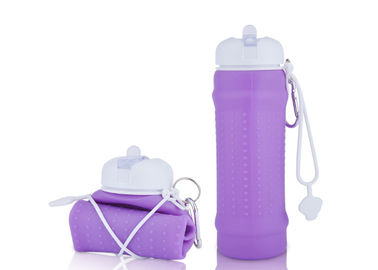 China Easy Wash Silicone Foldable Water Bottle BPA Free , Collapsible Travel Bottle For Sport supplier
