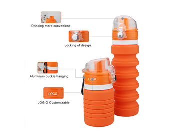 China Anti Slip Durable Collapsible Silicone Water Bottle Heat Resistant For Outside Activity supplier