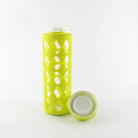 China Professional Pure Glass Silicone Water Bottle BPA Free With Handle Lid supplier
