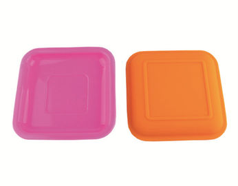 China Multi Color Silicone Tableware 6 Inch Square Silicone Plate For Color Changing Spoon supplier