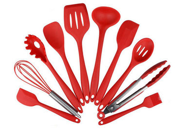 China Eco Friendly 10 Piece Silicone Utensil Set / Heat Resistant Silicone Cooking Utensils supplier