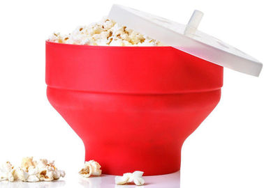 China Red Silicone Kitchen Utensils Collapsible Microwave Popcorn Popper Bowl With Lid supplier