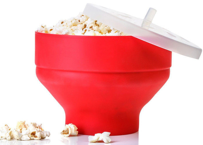 Red Silicone Kitchen Utensils Collapsible Microwave Popcorn Popper Bowl  With Lid