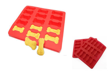 Red Homemade Silicone Ice Cube Trays Dog Bone Baking Molds For Cute Dog Treats