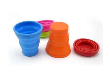 Non Toxic Silicone Drinking Cups Heat Resistant Collapsible Camping Cup For Traveling