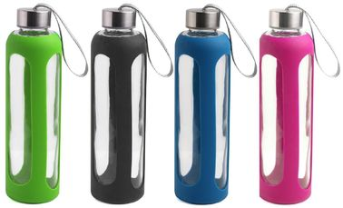China Anti Broken Glass Silicone Water Bottle Heat Resistant With Stainless Steel Cap factory