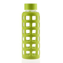 China Borosilicate Glass Sports Water Bottle , Reusable Glass Water Bottles With Silicone Sleeve factory