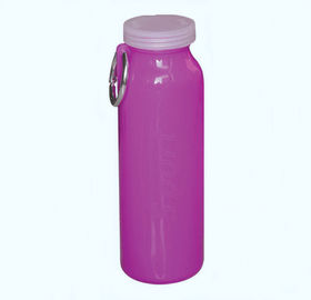 China Fruit Infuser Sports Silicone Folding Water Bottle With Locking Flip Top Lid / Handle factory