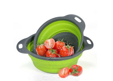 China Two Pack Silicone Kitchen Utensils Foldable Drain Basket For Vegetables / Fruit Storage factory