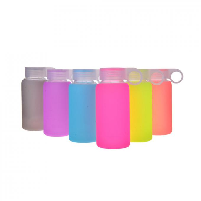 Novelty Durable Glass Silicone Water Bottle With Colorful Soft Silicone Sleeve