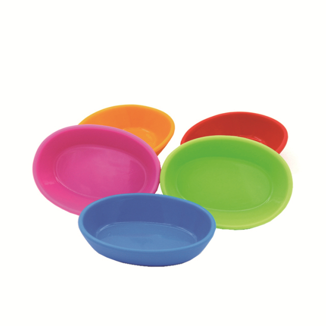 Non Toxic Odorless Silicone Tableware Round Shaped Green / Blue Baby Eating Bowls