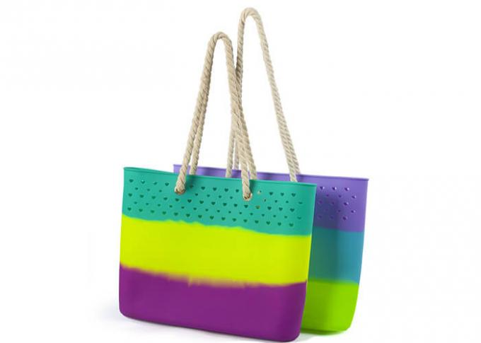 Popular Colorful Silicone Beach Bag Non Toxic / Odorless For Shopping