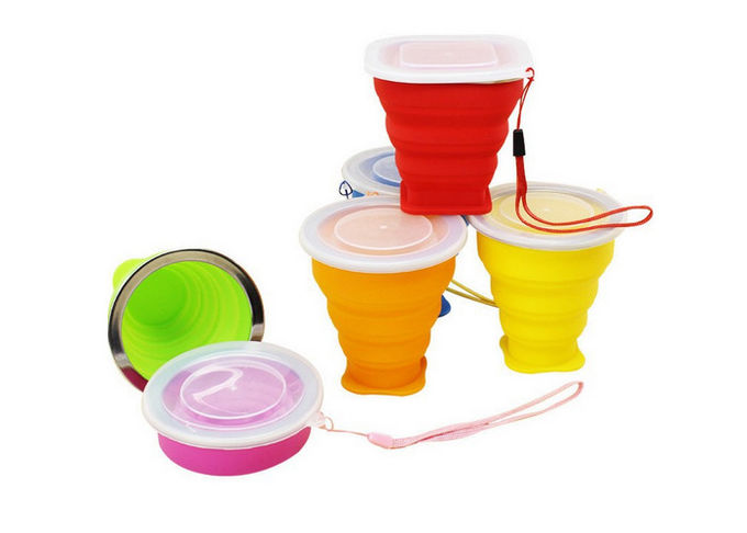 Fashion Flexible Collapsible Travel Cup , Collapsible Silicone Cup With Lid