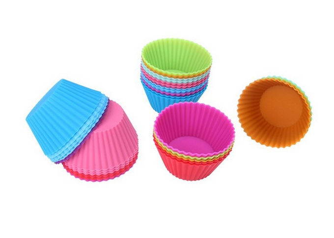 Foldable Heat Resistant Silicone Cupcake Molds Food Grade Silicone Baking Molds