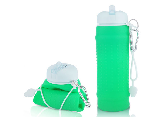 Easy Wash Silicone Foldable Water Bottle BPA Free , Collapsible Travel Bottle For Sport