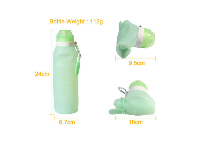 500 Ml - 600 Ml Leak Proof Collapsible Silicone Water Bottle With Logo Customized