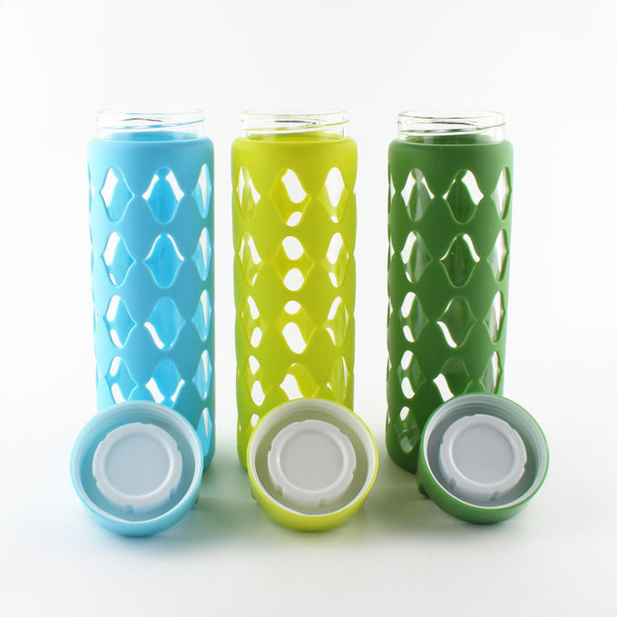 Professional Pure Glass Silicone Water Bottle BPA Free With Handle Lid