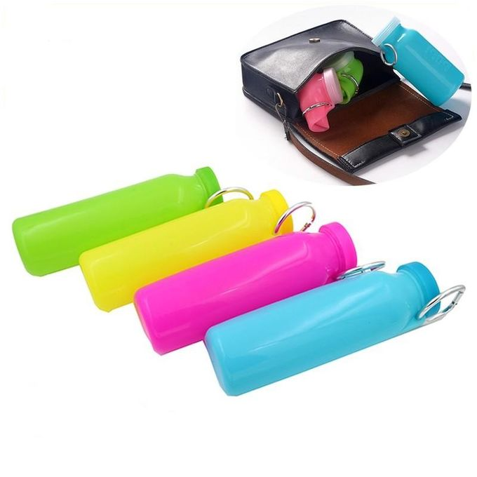 Fruit Infuser Sports Silicone Folding Water Bottle With Locking Flip Top Lid / Handle