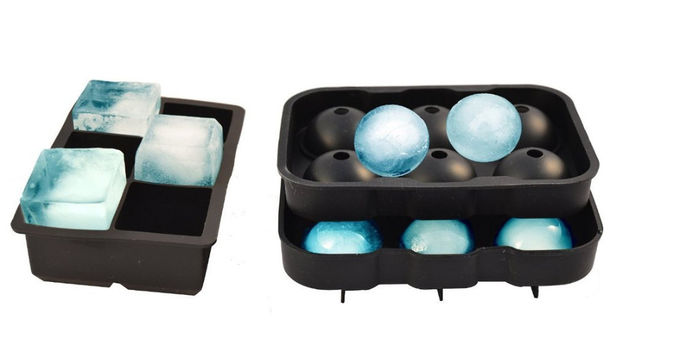 Flexible Large Square Ice Cube Molds , BPA Free 2 Set Silicone Ice Ball Mold