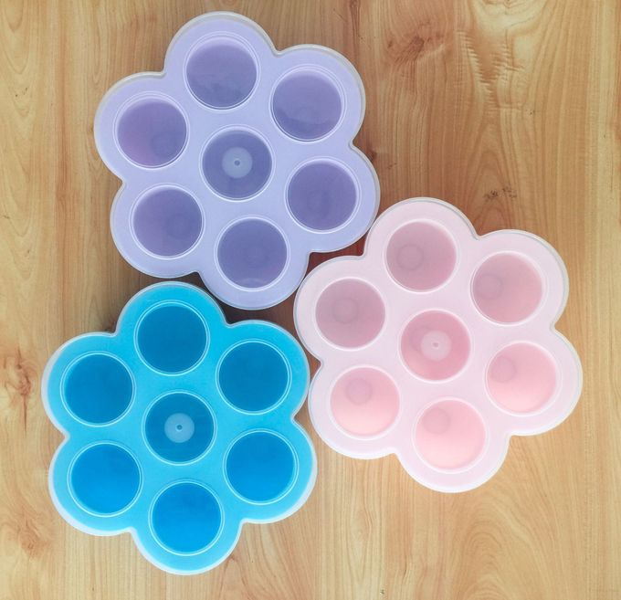 Silicone Egg Bites with PP Lid, For Baby Food Storage Container Molds